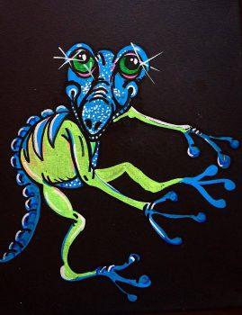Bilden är en tavla av min vän Maud Bexelius och hennes tolkning av Lilla Blå.